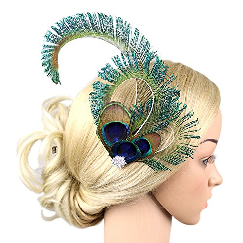 Vimans Women's 2016 Peacock Feather Beaded Hair Clip Fascinator Bridal Mini Hat