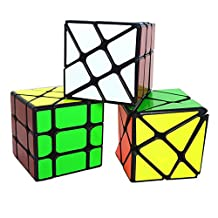 HJXD global Set of 3 Pack Magic Cube Fisher+Wheel+Axis Special Shape Speed Cube (Black)