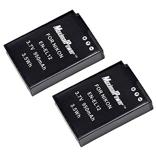 Maximal Power DB DB NIK ENEL12 X2  Maximalpower Replacement Battery for Nikon EN-EL12, Coolpix S9100,S8100,S6100,S6000,S8000,S8200,S70,S630,S610,S640,S710 2 - Coolpix Battery S8000 Nikon