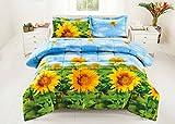 3 Piece Set Box Stitched Sunflower Prints 3d Comforter Set (Y012) King