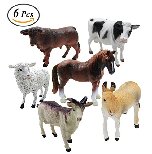 6 Piece Farm Animal Models Toy Set, Realistic Animals Action Figure Model, Educational Learn Cognitive (Farm Model)