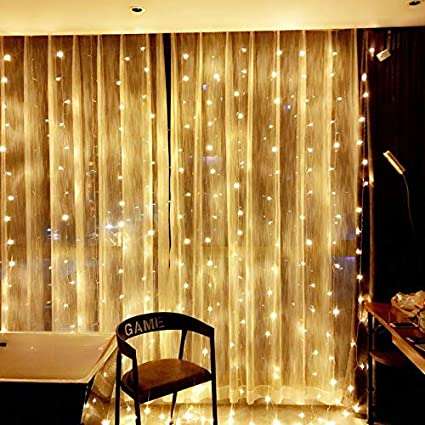 Curtains Decorative String Light Yellow 16Pcs 20LED Battery Starry String Copper String Lights Decorative Lights for Party Wedding Bedroom Backdrop Outdoor Wall Decoration Window Fairy Lights