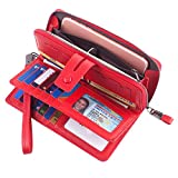Women RFID Wristlet Wallet Large Capacity Leather Clutch Multi Card Organizer Red