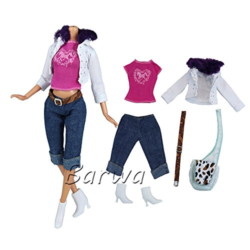 Outfit Fashion Style White Jacket Pink Top Jean Pants with Belt Shoes and Bag for Barbie Doll (Royalty Pajamas)