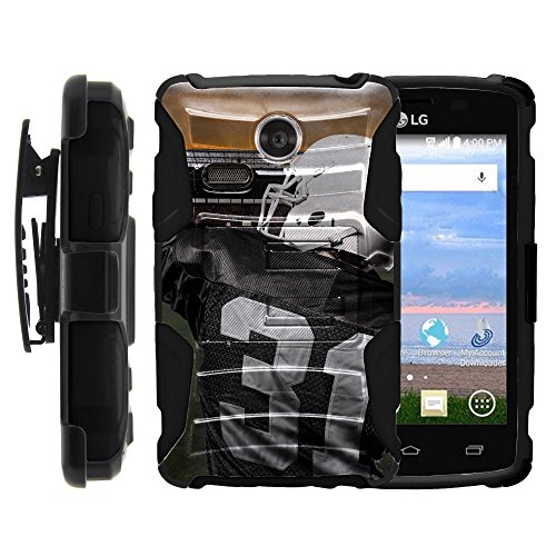 (MINITURTLE Case Compatible w/LG Lucky | LG Sunrise Case,Dual Layer Belt Clip Holster Stand Hard Shell Case Football Art Touchdown Throw)