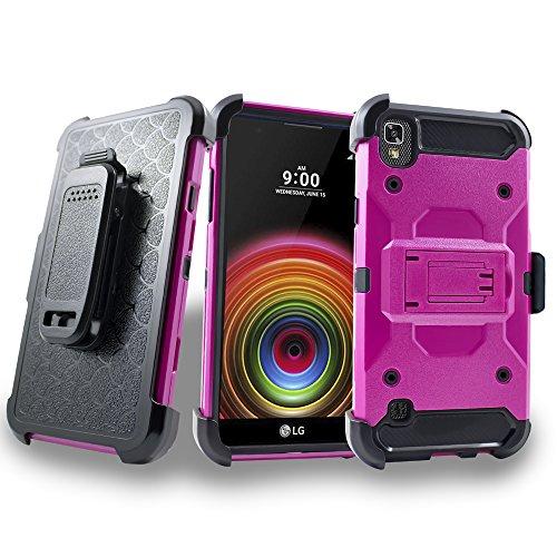 LG X style / Tribute HD / Volt 3 / LS676 Case, Mstechcorp Defender Armor Holster W/ Kickstand w/ Goodie (Pink) (Disney Phone Volt Cases Lg)