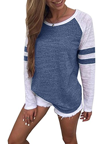 Yidarton Women's Color Block Long Sleeve T Shirt Casual Round Neck Tunic Tops(Blue,M)