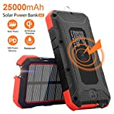 Solar Charger 25000mAh SendowTek 18W PD Power Bank USB C Charging 10W/7.5W Wireless Portable Phone Charger with 4 Outputs External Battery Pack Rainproof Flashlight Carabiner for Camping, Emergency