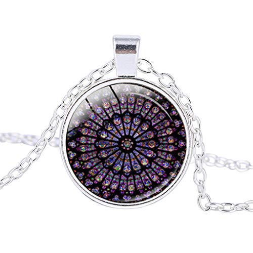 Guo Nuoen Rose Window Stained Glass Notre Dame de Paris Cathedral Pendant Necklace (Silver)