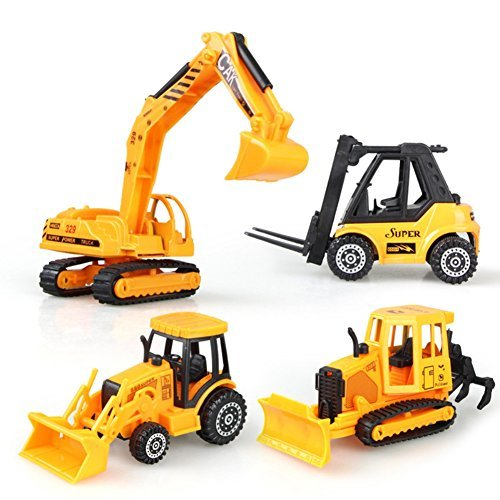 n Vehicles, Early Engineering Vehicles, Inertia Toy Trucks, Friction Powered Kids Bulldozer, Excavator, Forklift, Farming Car, 5 Inch Big 4 Set Toy for Kids Boys and Girls ()