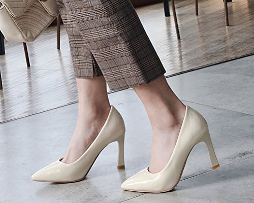 HiTime Beige Mujer Talla con Color Cu Sandalias de Charol 43 a PZq6PxT