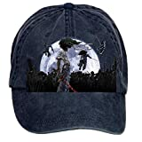 Jidlg Custom Washed Men Cotton Afro Samurai Moon Poster Adjustable Peaked Baseball Cap Navy