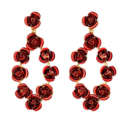 (Red Rose Dangle Earrings Gift For Wedding/Birthday Statement Earrings Gold Big Flower Earrings)