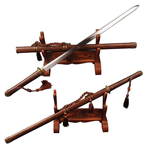 (YJ COOL Carbon Steel Tang Dynasty Dao Chinese Sword Rose Wood Kissakimorohadukuri Blade)