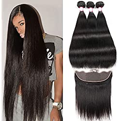 CYNOSURE Hair Straight Frontal 8A 100% Unprocessed Virgin Brazilian Human Straight hair 3 Bundles with Lace Frontal Closure 13x4 with Baby Hair Natural Black Color (14 16 18+12inch frontal)