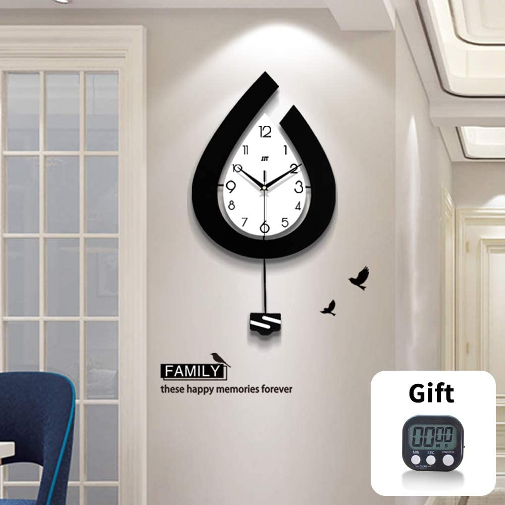 TT Large Wood Modern Pendulum Wall Clocks Large Decorative for Living Room Decor(28.7 inch)