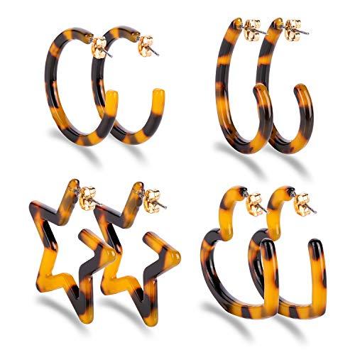Lianjie 4 Pairs Hoop Earrings for Women Girl Bohemia Tortoise Hoop Fashion Earrings