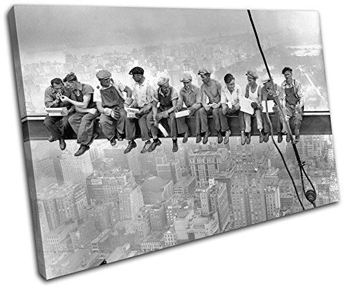 Bold Bloc Design – NYC Skyscraper Lunch Vintage 60x40cm SINGLE Canvas Art Print Box Framed Picture Wall Hanging – Hand Made In The UK – Framed And Rea…