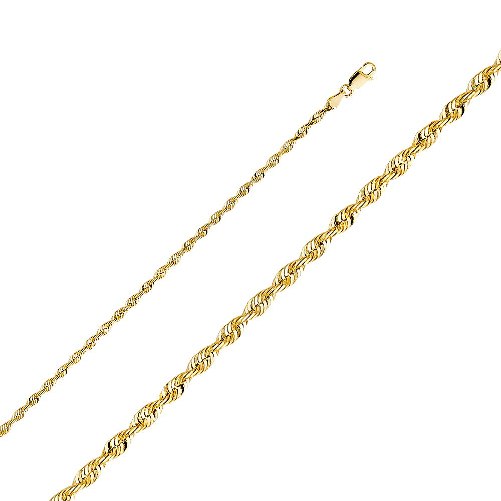 Wellingsale 14k Yellow Gold SOLID 3mm Polished Diamond Cut SOLID Rope Chain Necklace with Lobster Claw Clasp - 24''