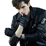 Fioretto 10% OFF Gifts 2018 Mens Fingerless Gloves Italian Genuine Goatskin Leather Half Finger Men Driving Leather Gloves Unlined with Rivets Punk Rock Style Black 10