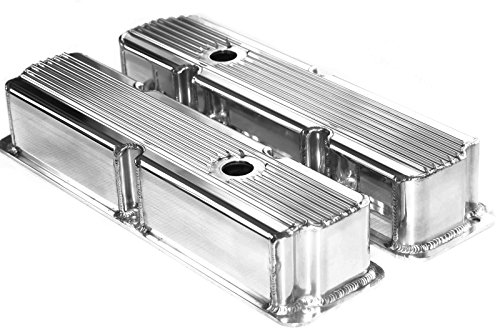 - Ford FE Polished Aluminum Fabricated Finned Tall Valve Covers BBF 360 390 428
