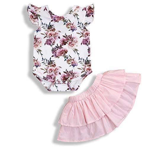 Newborn Baby Girls Clothing Set Short Sleeve Floral Romper + Skirt Summer Outfits 2Pcs Pink