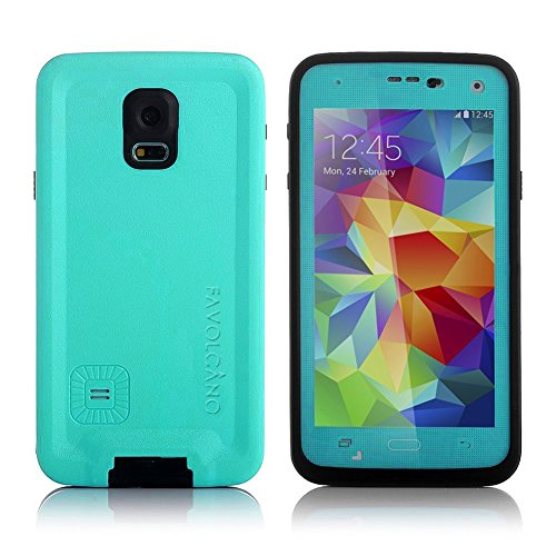 FAVOLCANO Redpepper Small Dots Series - Waterproof Shockproof Snowproof Dirtproof Dustproof Durable Protective Case for Samsung Galaxy S5 (Teal)
