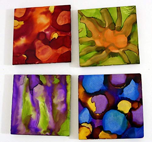 (Alcohol Ink Ceramic Tile Coasters Square Set of 4 Handpainted Multi-Color #6)
