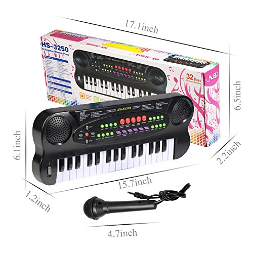 aPerfectLife 32 Keys Multifunction Portable Electronic Musical Kids Piano Keyboard for Kids Children Boys Early Learning Educational Toy (Black)