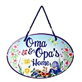 Essence of Europe Gifts E.H.G Oma & Opa's House Ceramic Door Sign Flower Design