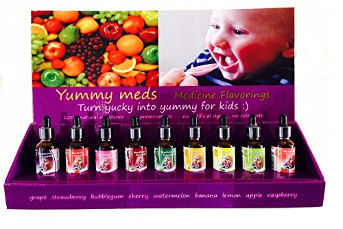 Pharmacy Flavor Vial Flavoring Drops Yummy Meds for Baby Child Kids Bad Tasting Medicines (Strawberry)