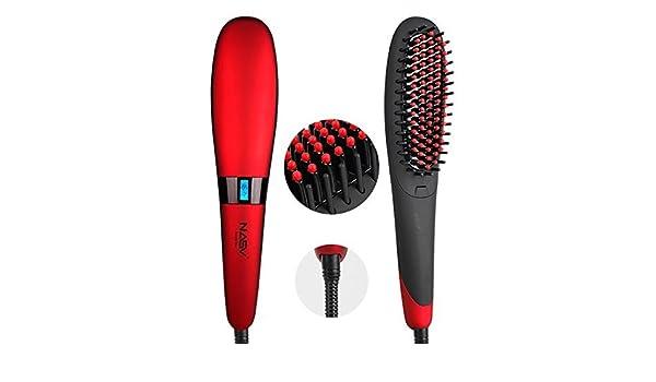 nasv 300 pelo alisado de Peine Plancha de pelo cepillo de cabello con iones negativos rojo + Lock: Amazon.es: Belleza