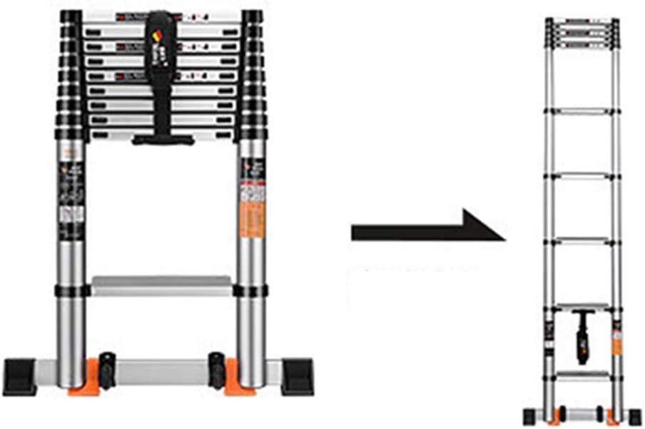 HYDT Escalera telescópica de ingeniería Profesional con Barra estabilizadora, Mantenimiento de construcción, escaleras de extensión, 8.8 pies - 19.35 pies, Aluminio: Amazon.es: Hogar