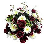 Admired-By-Nature-40-Stems-Artificial-Rose-Lily-Zinnia-Queen-Annes-Lace-Mixed-Flowers-Bush-with-Greenery-for-Memorial-Day-or-Home-Wedding-Restaurant-office-Decor-Arrangement-BurgundyCream