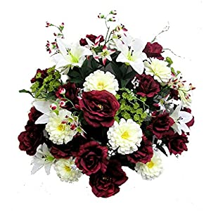 Admired By Nature 40 Stems Artificial Rose, Lily, Zinnia, Queen Anne's Lace Mixed Flowers Bush with Greenery for Memorial Day or Home, Wedding, Restaurant & Office Decor Arrangement, Burgundy/Cream 7
