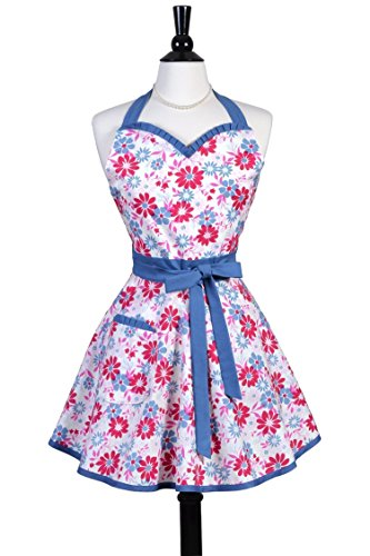 Monogram Denim (Sweetheart Womens Flirty Retro Apron in Country Girl Denim Floral - Monogram Option)
