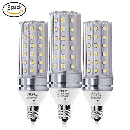 (E12 LED Bulbs, 12W LED Candelabra Bulb 100 Watt Equivalent, 1200lm, Decorative Candle Base E12 Corn Non-Dimmable LED Chandelier Bulbs, Daylight White 6000K LED Lamp, Pack of 3)