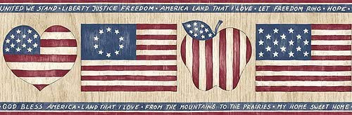 American Flag Wallpaper Border Country Hearts Decor Wall Border Roll