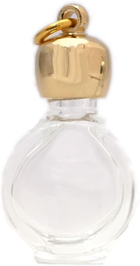 ミニ香水瓶 アロマペンダントトップ タイコスキ(透明)1ml・ゴールド・穴あきキャップ、パッキン付属