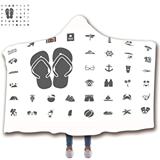 Wearable Hooded Blanket Fashion 3D Printed Design Flannel Blanket with Hood Adults Kids (43' H x 59' W) Blankets,Flo10