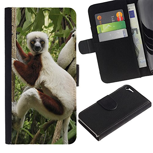 OMEGA Case / Apple Iphone 5 / 5S / Funny Monkey / Cuir PU Portefeuille Coverture Shell Armure Coque Coq Cas Etui Housse Case Cover Wallet Credit Card