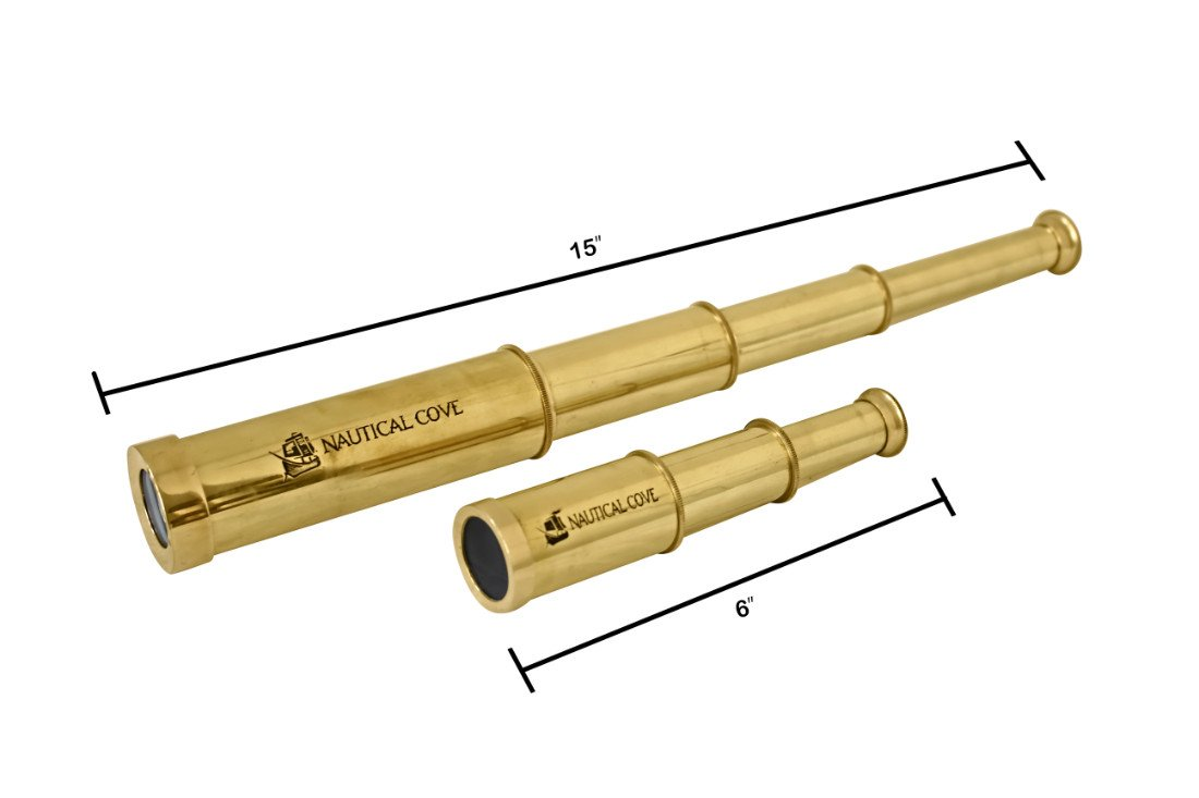6 and Costumes Props 6 and Costumes Nautical Cove Pirate Telescope Handheld Brass with Wooden Box for Kids