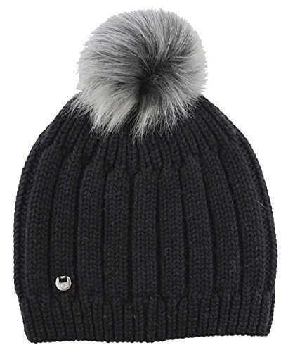 UGG Womens Solid Ribbed Beanie With Toscana Pom In Black