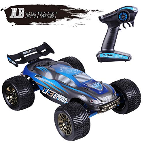 - JLBRACINGRC 1/10 Scale 4WD RC Car Electric Racing Monster Truck(RTR) with High Speed of 100 KM/H 2.4GHz Radio Controlled Vehicle for Adults with 120A ESC Waterproof (Blue)