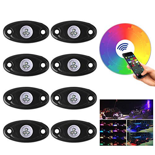 LED Rock Light Kits with Bluetooth Cell Phone Control RGB Music Mode & Flashing for Car Jeep Off Road Truck ATV SUV Boat Underbody Glow Trail Rig Multicolor Neon Lamp Waterproof