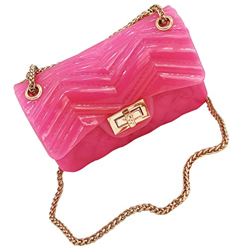Ladies Sacchetto Femminile Selvaggio Party Diagonale Gelatina Pink Catena Della CS8qvwx4