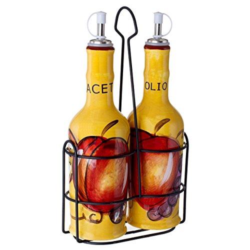 - Cucina Italiana Ceramic Oil and Vinegar Set Bottle Dispenser 14 Oz. with Metal Rack, Yellow
