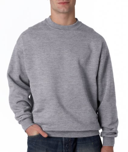 Jerzees Adult Super Sweats® Quarter-Zip Cadet Collar Sweatshirt - Oxford (45/55) - L - Cadet Collar Oxford