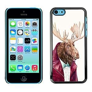 - Moose - - Monedero pared Design Premium cuero del tirš®n magnšŠtico delgado del caso de la cubierta pata de ca FOR Apple iPhone 5C Funny House