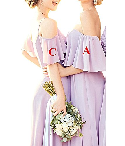 Silver Shoulder a Long Off Evening Bridesmaid Chiffon Gowns Cdress Dress Dresses Ruffles Formal Women's Prom Hv6qqwO